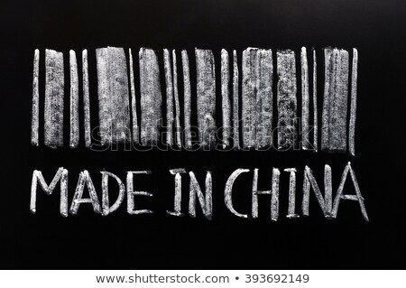 bar code of made in chinawritten with chalk on a blackboard stock photo © bbbar