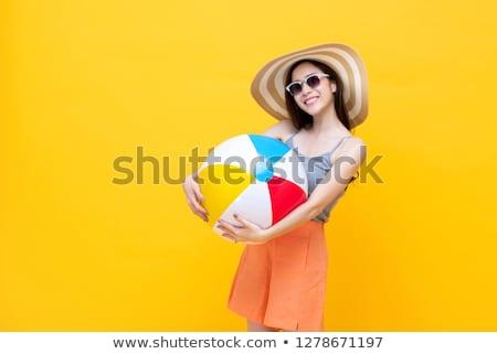 donna · nera · giocare · pallone · da · spiaggia · bikini · colorato · isolato - foto d'archivio © photography33