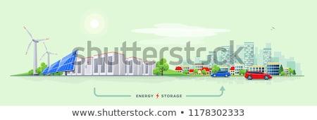 Tájkép ház szél elektromos erőmű zöld vektor Stock fotó © WaD