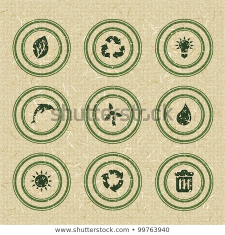 Ecology icons: green stamps on recycled paper stock photo © AnnaVolkova