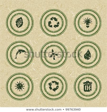 Ekoloji simgeler yeşil pulları geri dönüşümlü kâğıt Stok fotoğraf © AnnaVolkova