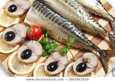 Stock fotó: Dish With The Cut Smoked Mackerel With Olives