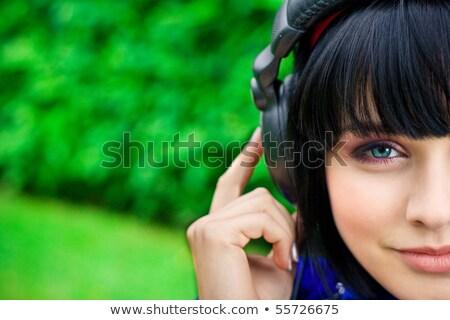 Vad nő zenét hallgat haj piros fehér Stock fotó © photography33