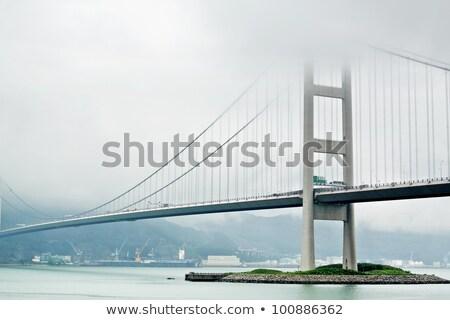 Tsing Ma Bridge In Hong Kong At Mist Foto d'archivio © cozyta