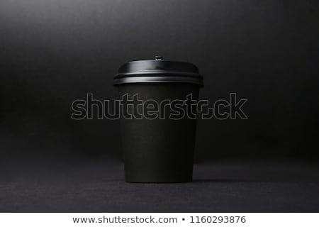 Beker zwarte koffie witte Rood mok rook Stockfoto © grafvision