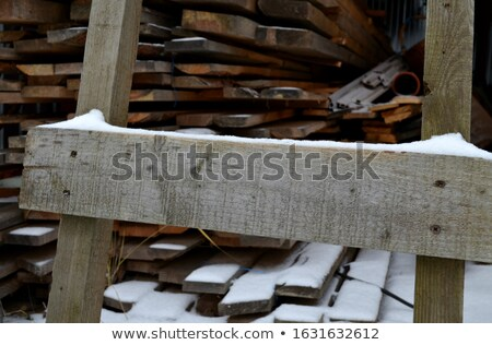 partly snow covered wooden boards Stock photo © prill