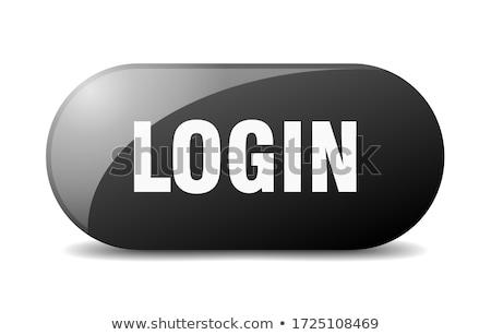 Login przycisk młoda kobieta popychanie technologii poziomy Zdjęcia stock © REDPIXEL