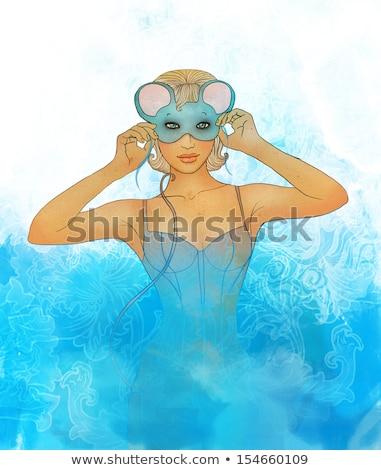 Beautiful  blonde woman in mouse masquerade costume. stock photo © Pilgrimego