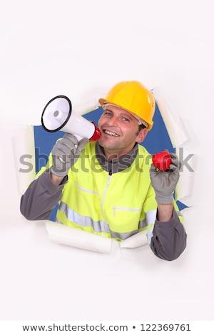 építőmunkás szeretet festék piros forgalom kalap Stock fotó © photography33