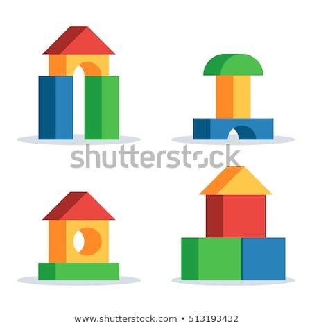 Houten speelgoed bakstenen witte kinderen hout onderwijs Stockfoto © JohnKasawa