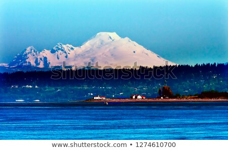Mount Baker Puget Sound Snow Mountain Lighthouse Washington Stat Stock photo © billperry