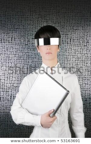 Futurisztikus modern üzletasszony acél szemüveg android Stock fotó © lunamarina