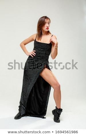 Stockfoto: Zwarte · vrouw · avond · toga · mooie · vrouw · Blauw