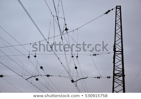 Railroad overhead lines against clear blue sky  Stock photo © meinzahn