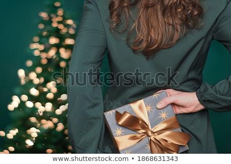 Noel kadın altın paket portre elbise Stok fotoğraf © runzelkorn