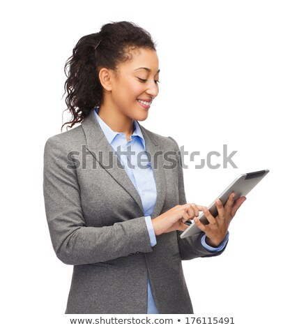 African American woman displaying a tablet-pc Stock photo © dash