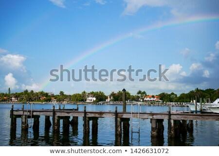 házak · csatorna · dél · Miami · nap · kék - stock fotó © meinzahn