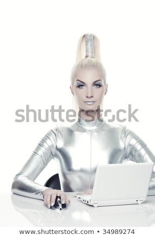 andróide · mouse · de · computador · 3d · render · mouse · teia · surfar - foto stock © nejron