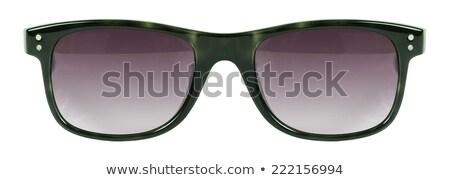 черный · Солнцезащитные · очки · зеленый · объектив · кадр · белый - Сток-фото © keneaster1
