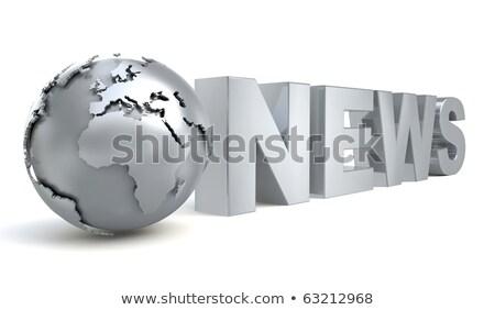 Stockfoto: Metaal · nieuws · tekst · teken · groep · brief