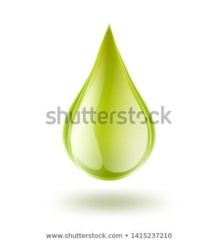 Groene druppel geïsoleerd witte 3d render teken Stockfoto © 3dart