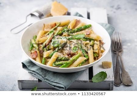 makarna · salata · kuşkonmaz · beyaz · plaka · gıda - stok fotoğraf © dar1930