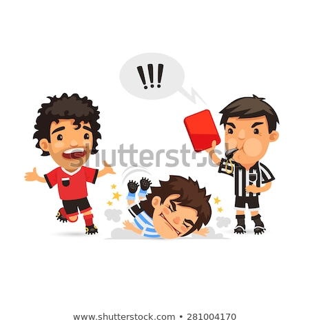 Soccer player who making tackle foul and Referee showing him red Stock photo © Voysla