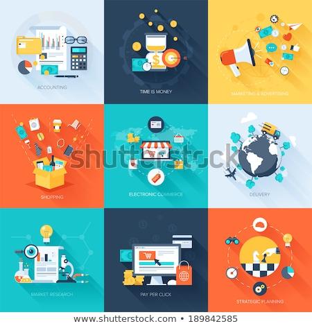 üzleti stratégia terv ikon üzlet technológia felirat Stock fotó © WaD