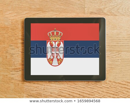 Comprimido Sérvia bandeira imagem prestados Foto stock © tang90246