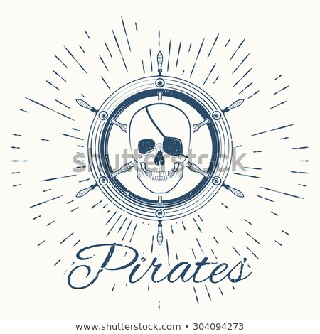Stock photo: skull pirate and vintage sun burst frame