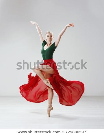 Mooie ballerina poseren lang witte rok Stockfoto © master1305