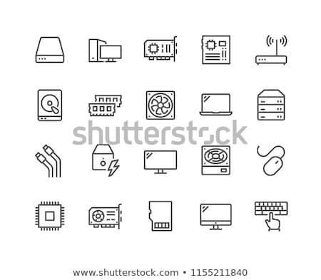 cpu · monitor · fino · linha · ícone · teia - foto stock © rastudio