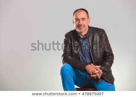 Homem maduro jaqueta de couro retrato mãos Foto stock © feedough