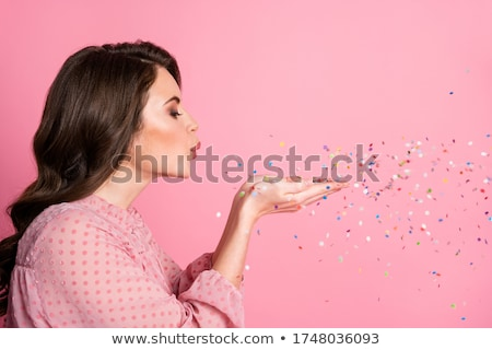 Cute lovely young woman  with sequins on her hair Stock photo © deandrobot