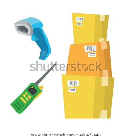 Cardboard boxes, barcode scanner and radio set. Stock photo © RAStudio