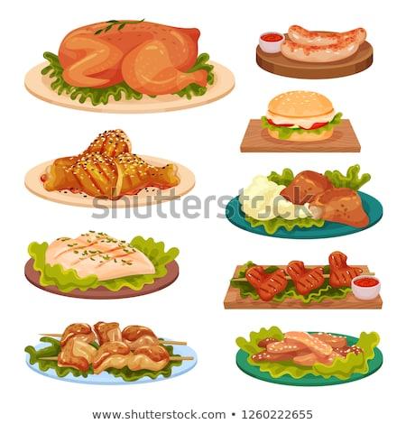 Tyúk nyárs krumpli felszolgált vacsora hús Stock fotó © Digifoodstock
