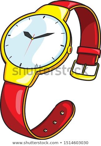 zwarte · leder · witte · goud · horloge - stockfoto © dmitroza