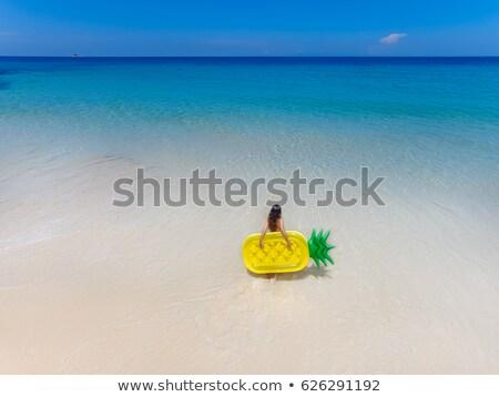 menina · inflável · colchão · piscina · jovem · sorridente - foto stock © adrenalina