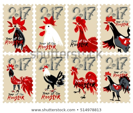 Chinese zodiac postage Stamp: year of the chicken Stock photo © myfh88