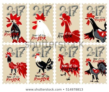 kínai · állatöv · postabélyeg · év · tyúk · papír - stock fotó © myfh88