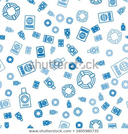 vector set of seamless lifesaver buoy pattern stock photo © adrian_n