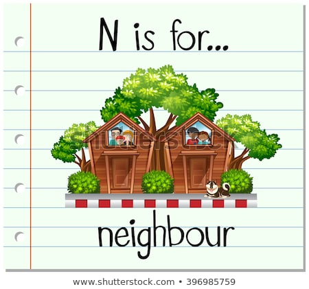 Flashcard letter N is for neighbour Stock photo © bluering