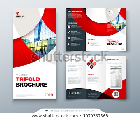 Tri-fold technology brochure design template Stock photo © saicle