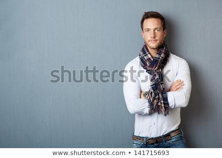 portré · okos · komoly · fiatalember · áll · fehér - stock fotó © iordani
