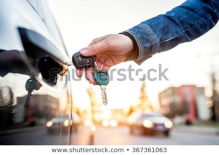 Louer voiture illustration femme sourire clé Photo stock © adrenalina