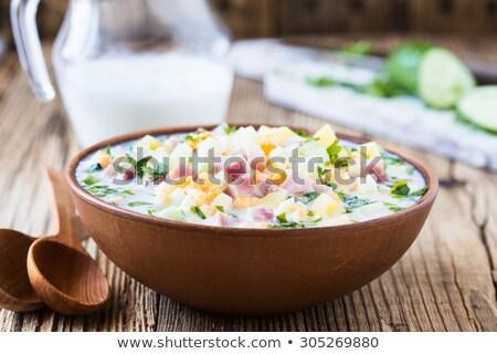 Kom ham yoghurt saladeschaal salade saus Stockfoto © Digifoodstock
