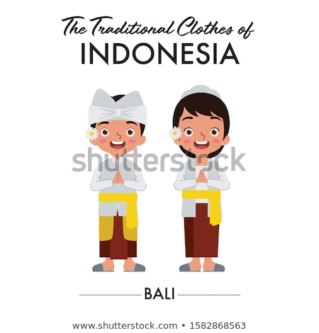 インドネシアの 少年 少女 伝統的な 笑顔 子供 ストックフォト © bluering