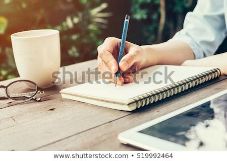 Сток-фото: журналист · Дать · ноутбук · карандашом · молодые · улыбаясь