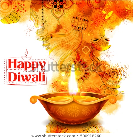 watercolor background with burning diya for diwali festival of l Stock photo © SArts