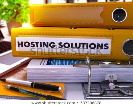 Hosting megoldások gyűrű elmosódott kép iroda Stock fotó © tashatuvango